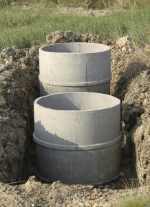 Concrete septic tanks under construction